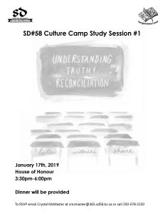 Culture Camp Study Session #1 January 17th, 2019 House of Honour 3:30-6pm @ House of Honour, rear of MSS on Chapman Street. | Merritt | British Columbia | Canada