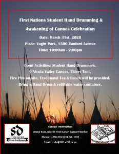 First Nations Student Hand Drumming & Awakening of Canoes Celebration @ Voght Park