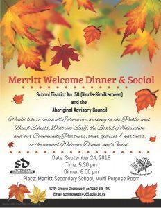 Merritt Welcome Dinner & Social @ Merritt Secondary School, Multi Purpose Room